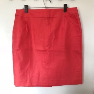 J. Crew Neon Coral Pencil Skirt- Size 14